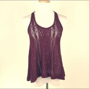 American Eagle Burgundy Crochet Lace Top